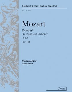 MOZART - Bassoon Concerto In Bb Major, Kv 191 - Sheet Music - di-arezzo.co.uk