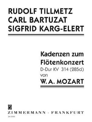 Mozart Wolfgang Amadeus / Tillmetz Rudolph / Bartuzat carl / Karg-Eler - Cadences Du Concerto En Ré Maj Kv.314 - Partition - di-arezzo.fr