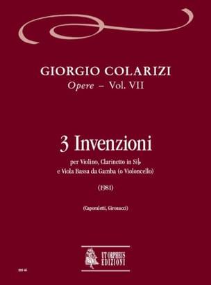 Giorgio Colarizi - 3 Invenzioni (1981) - Opere Vol.VII - Partition - di-arezzo.fr