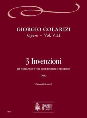 Giorgio Colarizi - 3 Invenzioni (1981) - Opere Vol.VIII - Partition - di-arezzo.fr