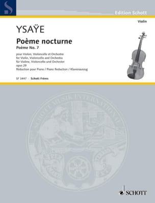 Eugène Ysaÿe - Poème Nocturne Opus 29 N° 7 - Partition - di-arezzo.fr