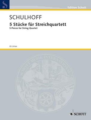 Erwin Schulhoff - 5 Stücke Für Streichquartett - Partition - di-arezzo.fr