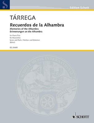 Francisco Tarrega - Recuerdos de la Alhambra - Trio Avec Piano - Partition - di-arezzo.fr