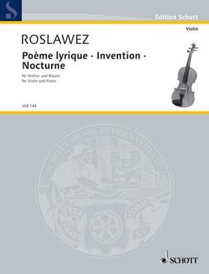 Poème Lyrique - Invention - Nocturne Nikolai Roslawez laflutedepan