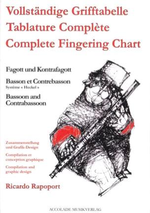 Ricardo Rapoport - Grifftabelle für Fagott und Kontrafagott - Partitura - di-arezzo.es