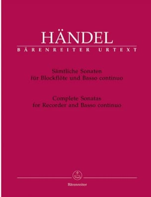 Georg Friedrich Haendel - Complete Sonatas for Recorder and BC - Partition - di-arezzo.fr