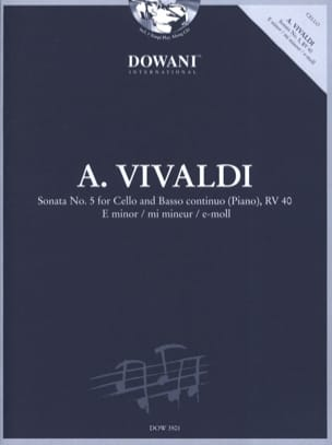 VIVALDI - Sonata n° 5 for Cello and Basso Continuo Piano Rv 40 In E Minor - Partition - di-arezzo.fr