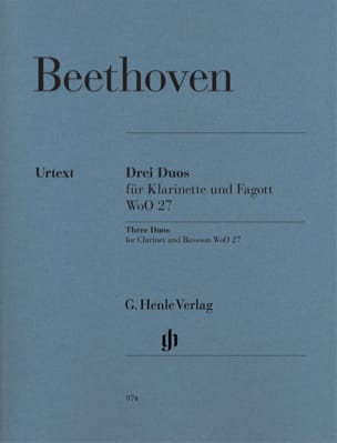 Ludwig van Beethoven - Trois Duos WoO 27 pour clarinette et basson - Partition - di-arezzo.fr
