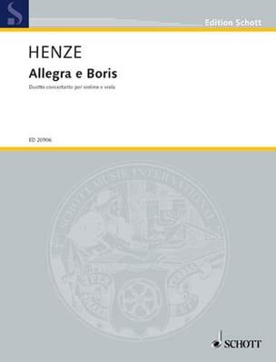 Hans Werner Henze - Allegra E Boris - Sheet Music - di-arezzo.co.uk