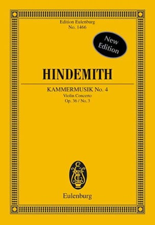 Paul Hindemith - Kammermusik N°4 Op.36 N°3 - Partition - di-arezzo.fr
