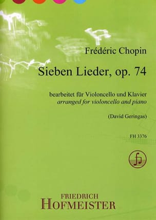 CHOPIN - 7 Lieder Op.74 - Partition - di-arezzo.fr
