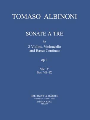 Tomaso Albinoni - Sonate A Tre Op.1 Vol.3 - Partition - di-arezzo.fr