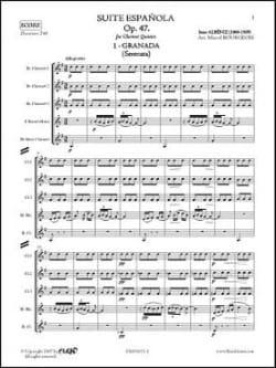 Suite Espagnole Op 47 N° 1 - Granada ALBENIZ Partition laflutedepan