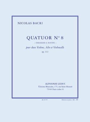 Quatuor N°8 Op.112 Nicolas Bacri Partition Quatuors - laflutedepan