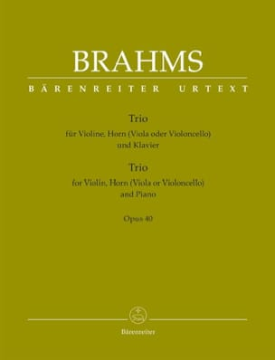 BRAHMS - Trio Op. 40 - Sheet Music - di-arezzo.co.uk
