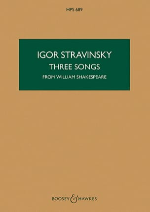Igor Stravinsky - 3 Songs from W. Shakespeare - Partition - di-arezzo.fr