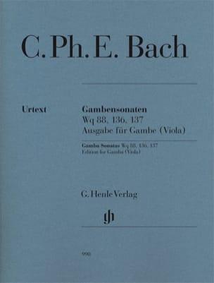 Carl Philipp Emanuel Bach - Sonates pour Viole de Gambe Wq 88, 136 & 137 - Partition - di-arezzo.fr