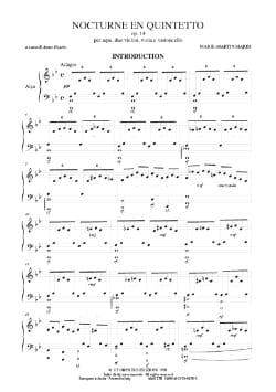 Marie-Martin Marin - Nocturne en Quintetto - Parties - Partition - di-arezzo.fr