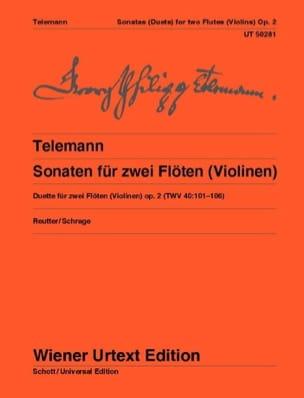 Sonates Pour 2 Flûtes Opus 2 - Twv40:101-106 TELEMANN laflutedepan