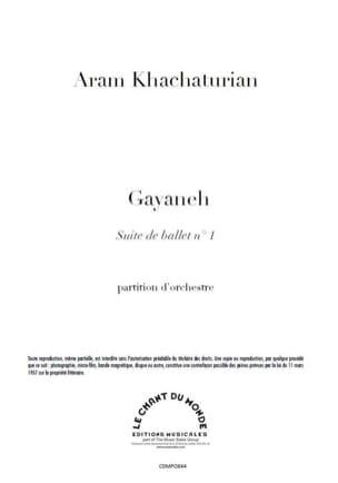 Gayaneh Suite N° 1 KHATCHATURIAN Partition Grand format - laflutedepan