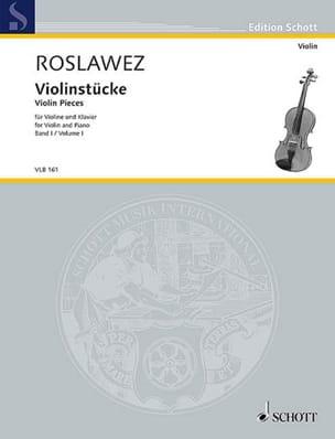 Violinstücke Volume 1 Nikolai Roslawez Partition Violon - laflutedepan