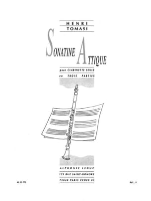 Sonatine Attique TOMASI Partition Clarinette - laflutedepan