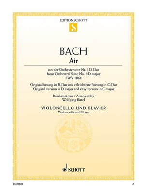 BACH - Air of the Orchestra Suite No. 3 BWV 1068 - Partition - di-arezzo.com