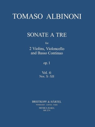 Tomaso Albinoni - Sonata a tre op. 1 - Volume 4: X-XII - Partition - di-arezzo.fr