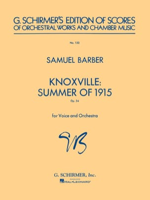 Knoxville : Summer of 1915 op. 24 BARBER Partition laflutedepan