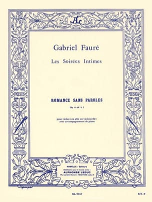 Romance Sans Paroles Op. 17 N° 3 Gabriel Fauré Partition laflutedepan