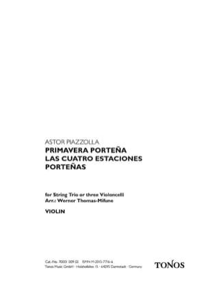 Astor Piazzolla - Primavera Portena - Partition - di-arezzo.fr