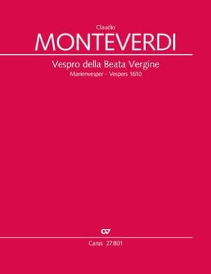 Claudio Monteverdi - Vespro della Beata Vergine - Urtext - Partition - di-arezzo.fr
