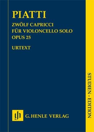 Alfredo C. Piatti - 12 Caprices, opus 25 - Partition - di-arezzo.fr