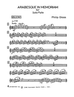 Philip Glass - Arabesque in Memoriam Solo Flute - Partition - di-arezzo.fr