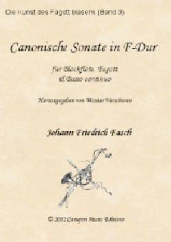 Johann Friedrich Fasch - Sonate en Canon en Fa Majeur - Flûte à Bec, Basson et BC - Partition - di-arezzo.fr