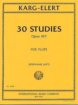 30 Studies, opus 107 - Flute Sigfrid Karg-Elert Partition laflutedepan