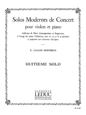 Raymond Gallois-Montbrun - Concert Solo n ° 8 - Sheet Music - di-arezzo.co.uk
