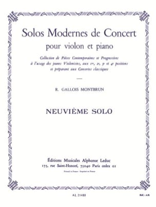 Raymond Gallois-Montbrun - Concert Solo n ° 9 - Sheet Music - di-arezzo.co.uk