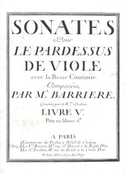 Jean Barrière - Sonatas for the Viola Overcoat - Viola and Basso continuo - Sheet Music - di-arezzo.com
