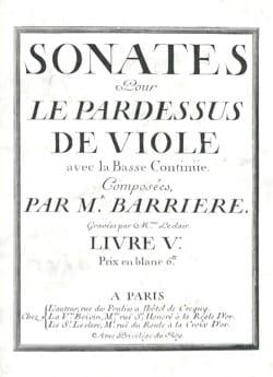Jean Barrière - Sonates pour le Pardessus de Viole - Viole et Basse continue - Partition - di-arezzo.fr
