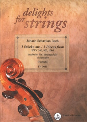 BACH - 3 Pieces - Solo Cello - Sheet Music - di-arezzo.co.uk