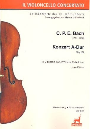 Konzert fur Violoncello A-Dur Wq 172 - Klavierauszug laflutedepan