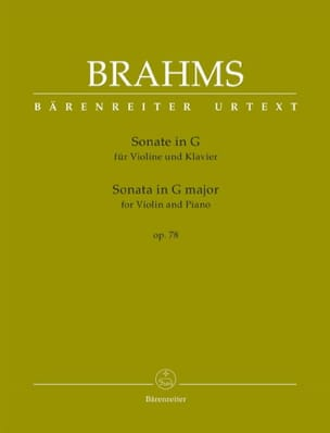 BRAHMS - Sonate, op. 78 - Violon et piano - Partition - di-arezzo.fr