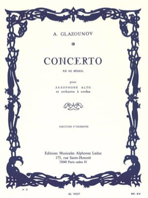 Alexandre Glazounov - Concerto Saxophone en mi bémol op. 109 - Conducteur - Partition - di-arezzo.fr