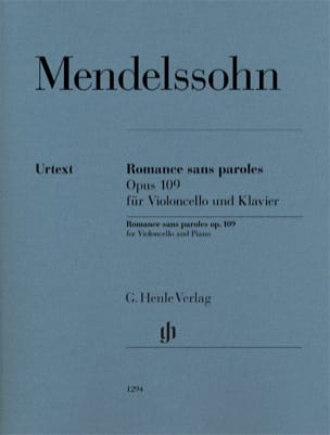 MENDELSSOHN - Romance without words, op. 109 - Cello and piano - Sheet Music - di-arezzo.co.uk
