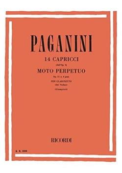 Niccolò Paganini - 14 Caprices / Moto perpetuo - Clarinette - Partition - di-arezzo.fr
