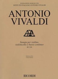 VIVALDI - Sonate RV 820 - Violon, violoncelle et BC - Partition - di-arezzo.fr