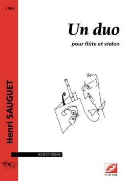 Un duo - Flûte et violon Henri Sauguet Partition Duos - laflutedepan
