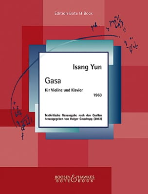 Isang Yun - Gasa - Violon et piano - Partition - di-arezzo.fr