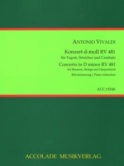 Antonio Vivaldi - Konzert d-moll RV 481 - Basson et piano - Partition - di-arezzo.fr